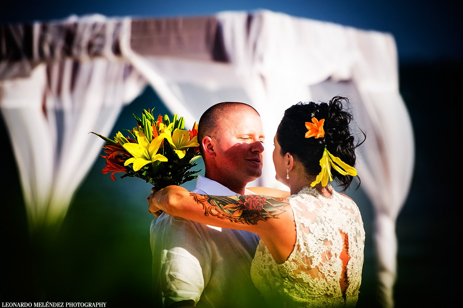 Beach wedding at Coco Beach Resort, Ambergris Caye, Belize.