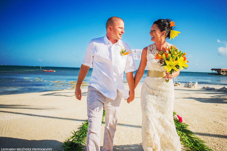 Belize beach wedding at Coco Beach Resort, Ambergris Caye.