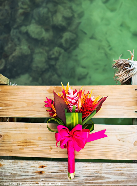 Tropical wedding bouquet, Belize wedding at Portofino Resort