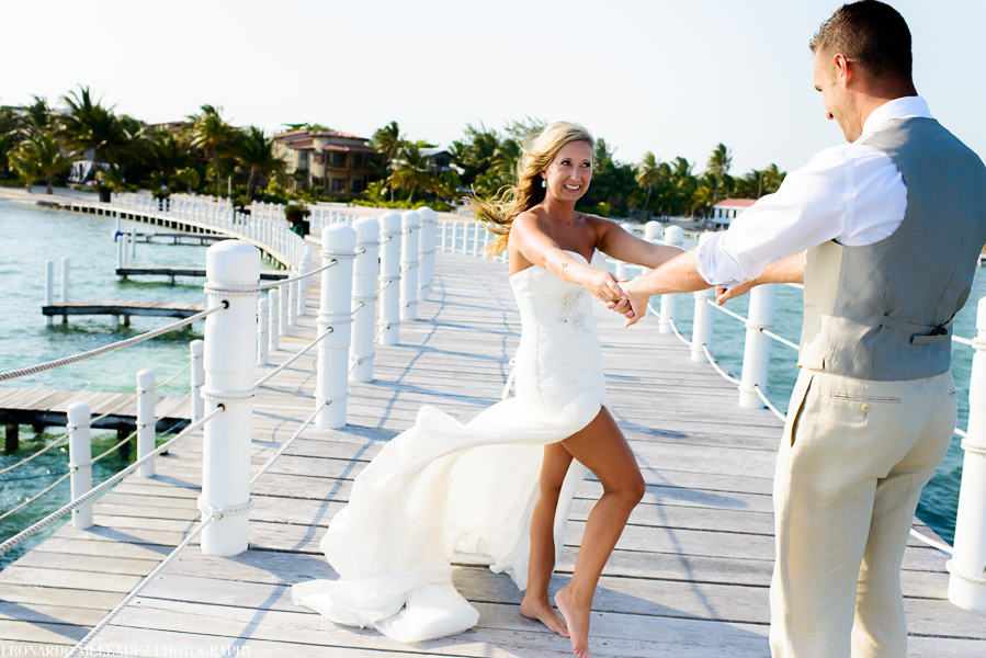 First Look. Belize Destination wedding at Las Terrazas Resort. Belize wedding photographers, Leonardo Melendez Photography