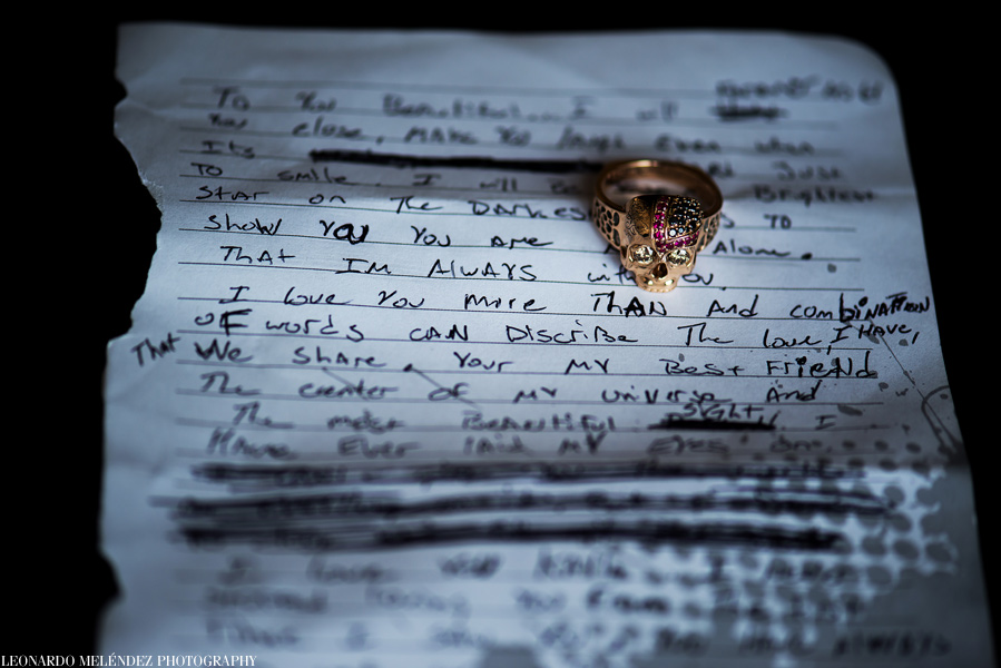 Vows and ring.  Belize wedding photography by  Leonardo Melendez Photography.