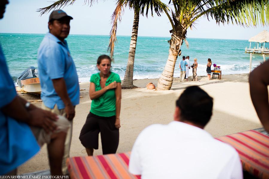 Beach wedding at Hopkins, Belize.  Leonardo Melendez Photography.
