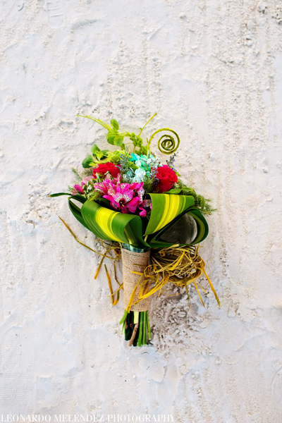 Tropical Bridal Bouquet.  Coco Beach Resort wedding.  Belize wedding photographers, Leonardo Melendez Photography.