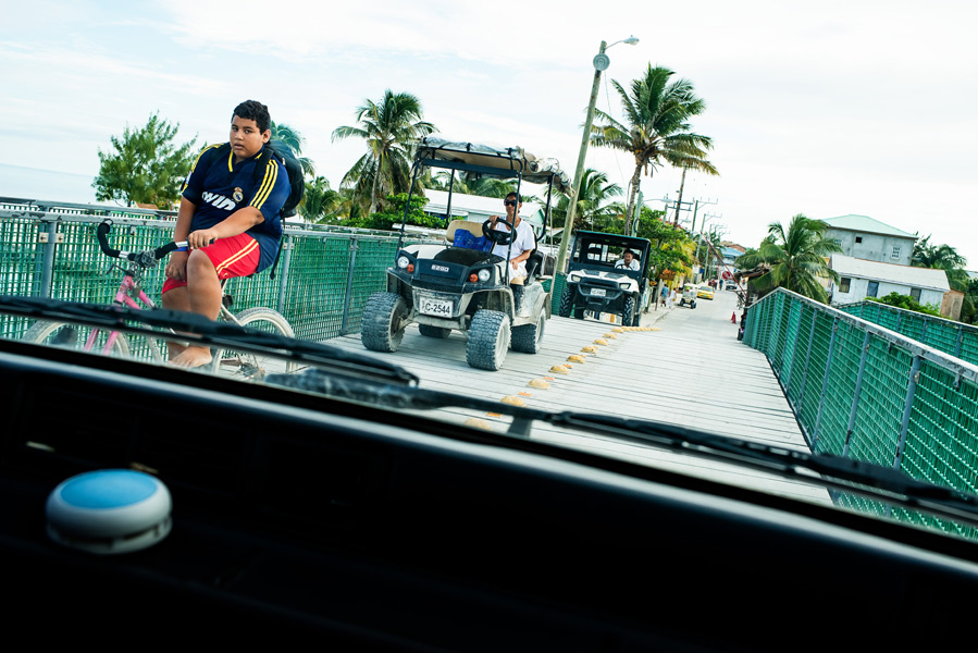 Local taxi ride. Ambergris Caye, Belize. Leonardo Melendez Photography.