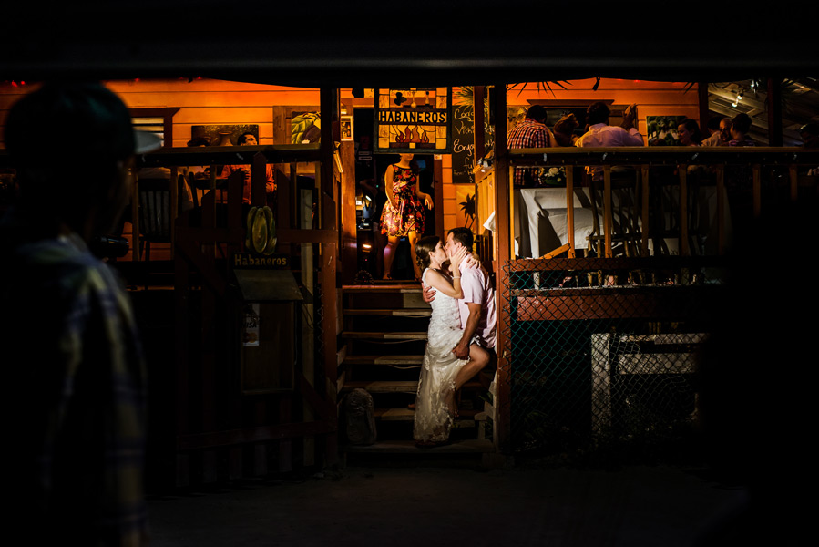 Caye Caulker beach wedding reception at Habaneros.  Belize wedding photographers, Leonardo Melendez Photography.